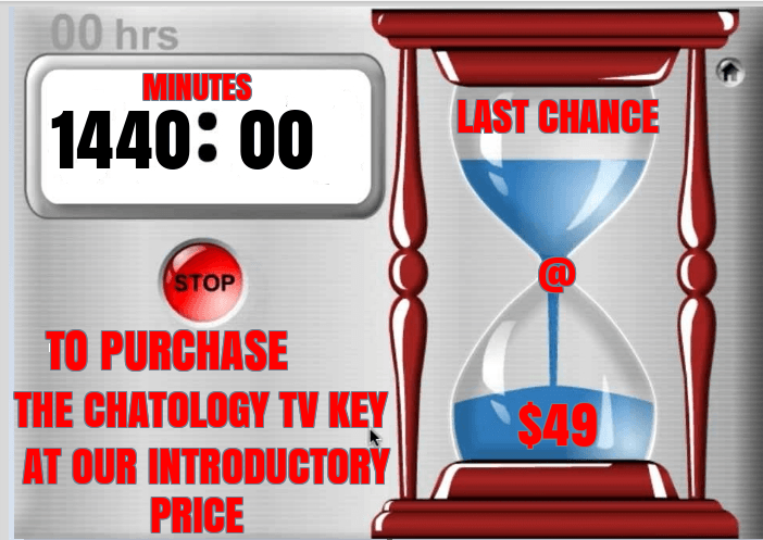 "ATTENTION PLEASE! YOU HAVE 1440 MINUTES LEFT TO ORDER YOUR Chatology ""KEY"" XBMC"