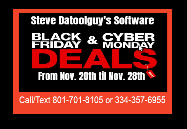 Steve Datoolguy Black Friday And Cyber Monday Software Sale